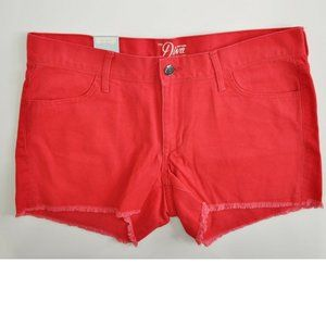 Old Navy The Diva Denim Shorts Frayed Hem Red